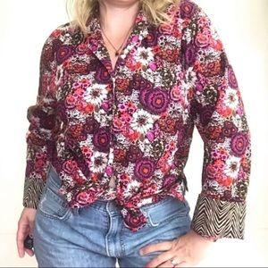 Vera Bradley Dark Floral Button Down Shirt